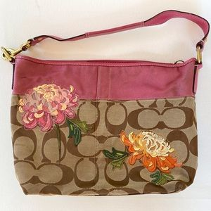 Rare Coach Bag- Hot Pink with Embroidered Flowers
